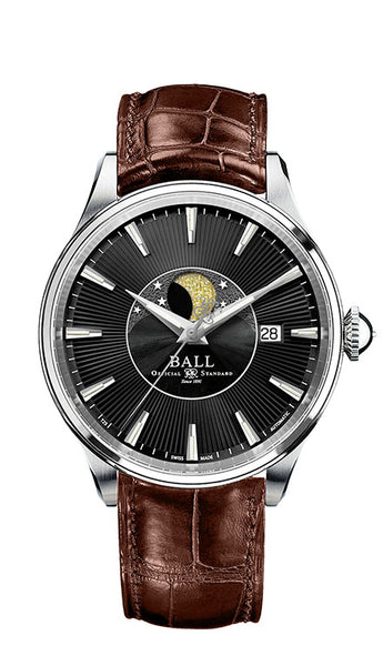 BALL NM3082D-LLJ-BK Trainmaster Moon Phase Black Dial 40mm Watch