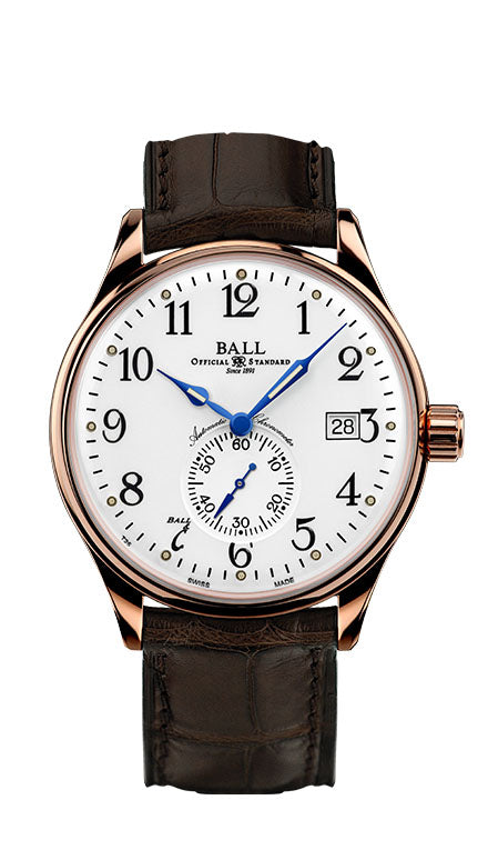 BALL NM3888D-PG-LCJ-WH Trainmaster 18k Rose Gold Watch
