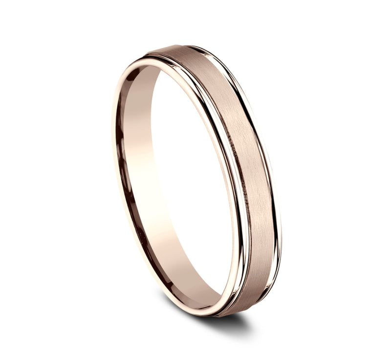Benchmark RECF7402SR Rose 14k 4mm Men's Wedding Band Ring