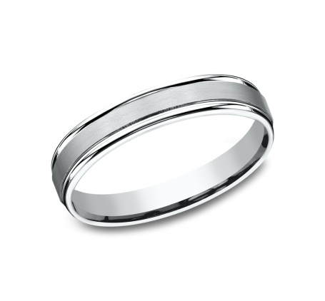 Benchmark RECF7402SW White 14k 4mm Men's Wedding Band Ring
