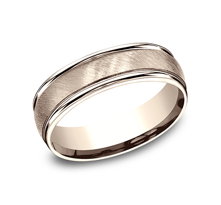 Benchmark RECF76044R Rose 14k 6mm Men's Wedding Band Ring