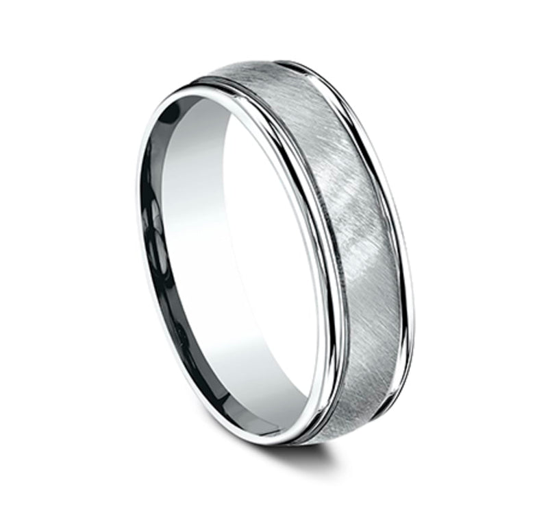Benchmark RECF76044W White 14k 6mm Men's Wedding Band Ring