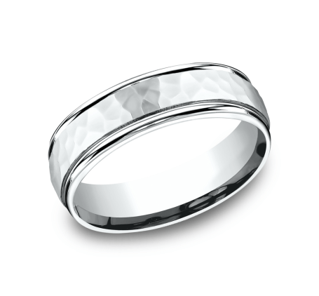 Benchmark RECF865591W White 14k 6.5mm Men's Wedding Band Ring