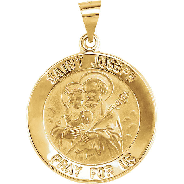St Joseph 14k Solid Yellow Gold 1.4 Grams Pray for Us Pendant Charm 0.75 inch