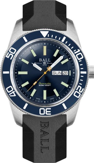 BALL DM3308A-P1C-BE Master II Skindiver Heritage 42mm Case Blue Dial Rubber Strap Watch