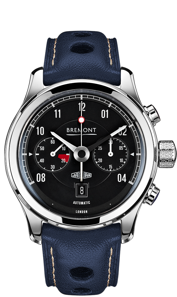 Bremont MKII BLACK Dial Jaguar Automatic Chronometer Blue Leather Strap Watch