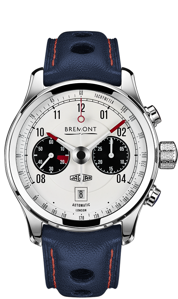 Bremont MKII WHITE Dial Jaguar Automatic Chronometer Blue Leather Strap Watch