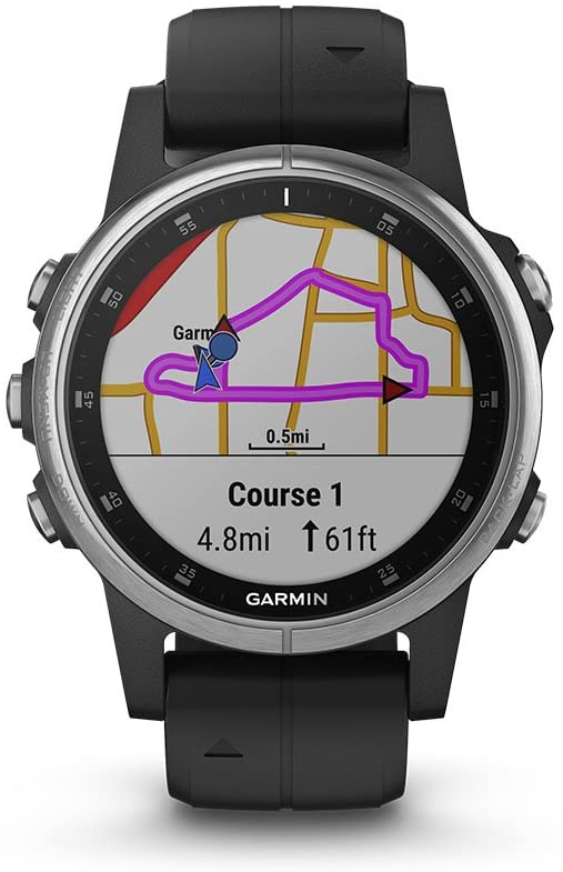 Garmin 010-01987-20 Fenix 5S Plus Silver with Black Band Watch