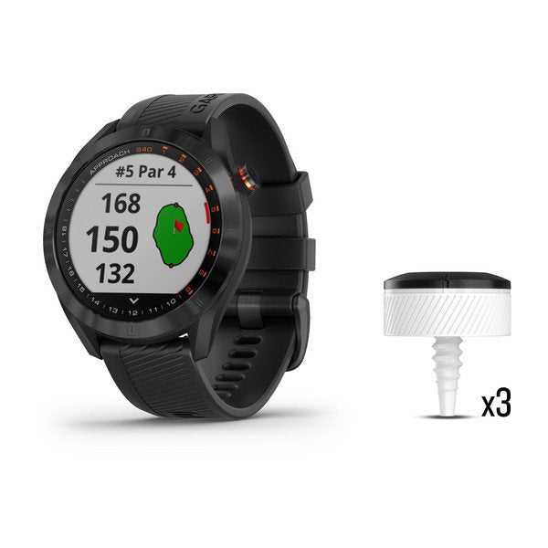 Garmin 010-02140-03 Approach S40 and CT10 Bundle Black Stainless Steel with Black Band Bundle Watch