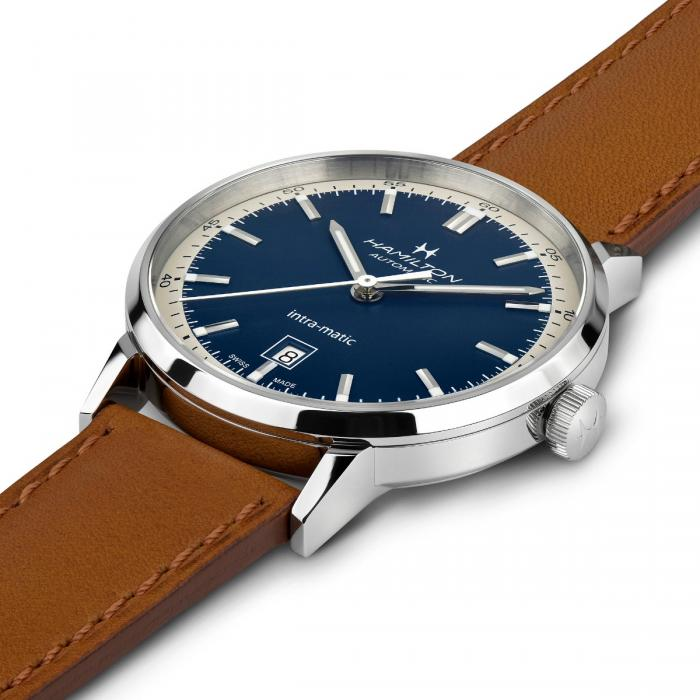 Hamilton H38425540 Intra-Matic Brown Leather Automatic Blue Dial Watch
