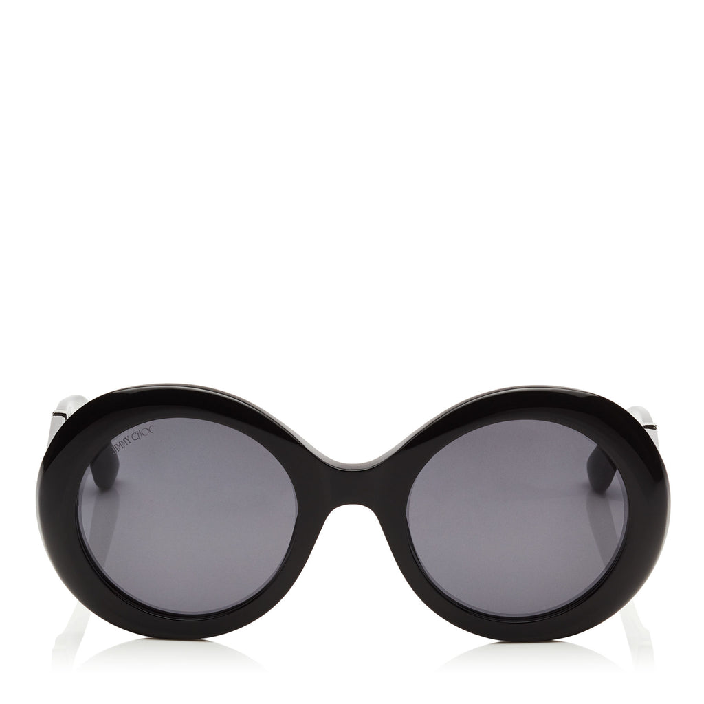 JIMMY CHOO Wendy Black Round Framed Sunglasses with Lurex Detailing ITEM NO. WENDYS51EFA3