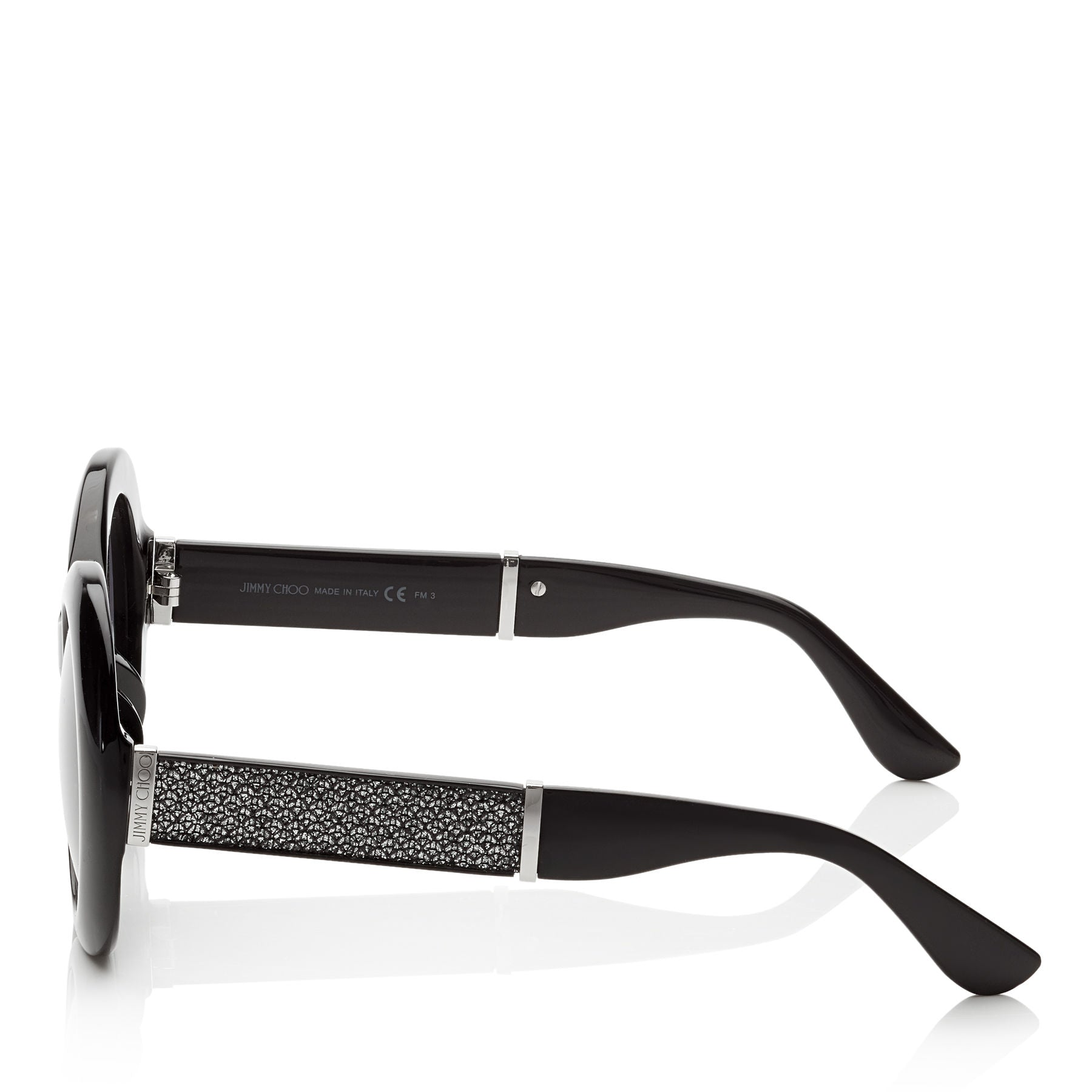 03d63864ac3d JIMMY CHOO Wendy Black Round Framed Sunglasses with Lurex Detailing ITEM NO.