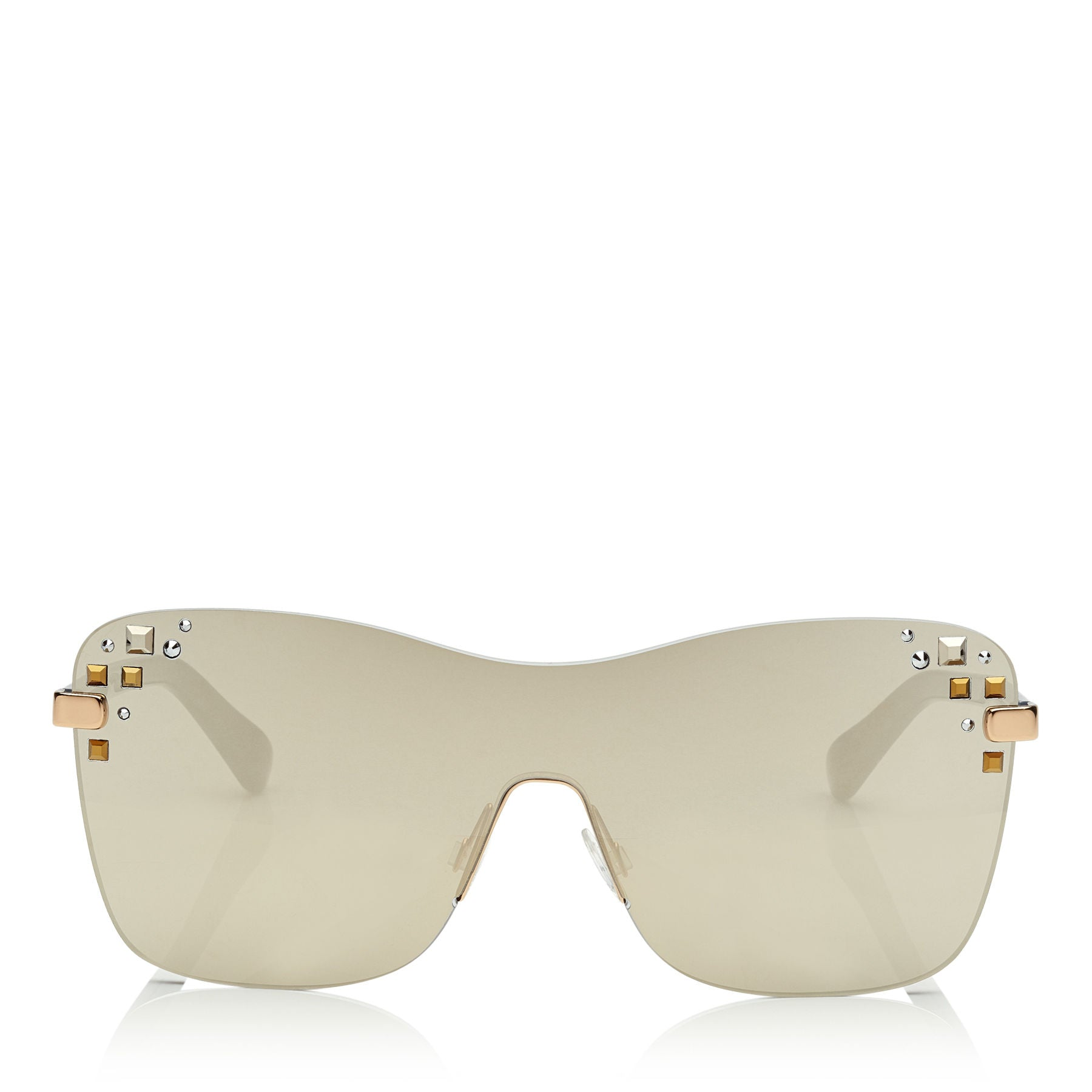 JIMMY CHOO Mask Rose Gold and Grey Round Frame Sunglasses with Swarovski Crystals ITEM NO. MASKS99E138