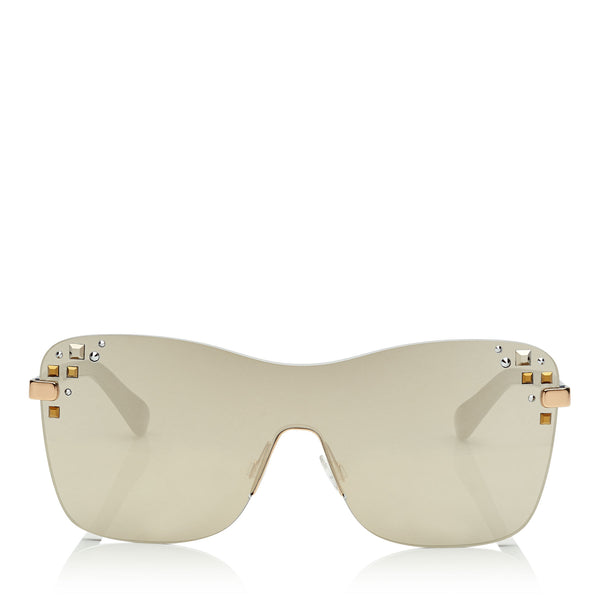 bb7b963a489 JIMMY CHOO Mask Rose Gold and Grey Round Frame Sunglasses with Swarovski  Crystals ITEM NO.