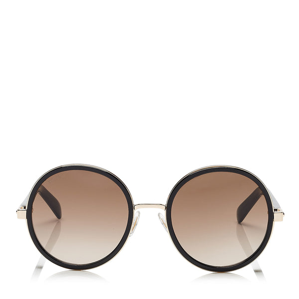 5294b0e0dc3 JIMMY CHOO Andie Rose Gold and Black Acetate Round Framed Sunglasses with  Gold and Silver Fabric