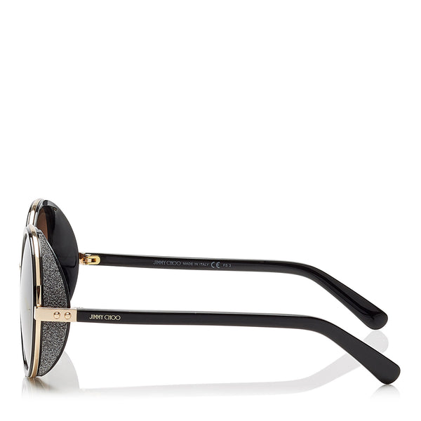 365b5c93d31 ... JIMMY CHOO Andie Rose Gold and Black Acetate Round Framed Sunglasses  with Gold and Silver Fabric