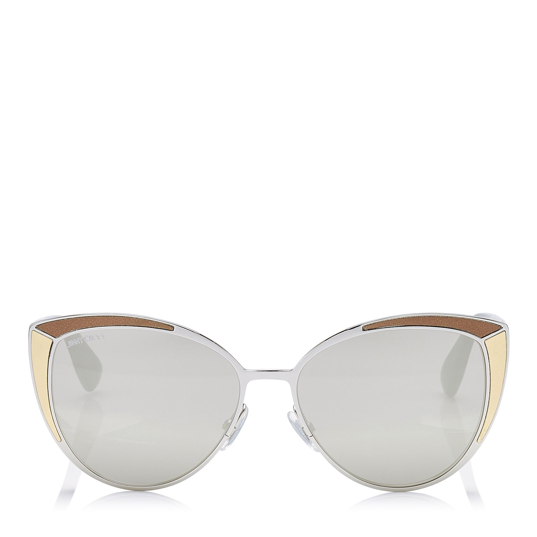 JIMMY CHOO Domi Metal Framed Cat Eye Sunglasses with Snakeskin Leather Detail ITEM NO. DOMIS56EVNE
