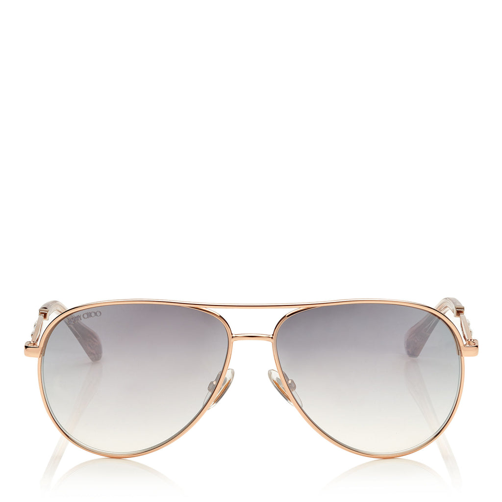 JIMMY CHOO Jewly Gold Copper Aviator Sunglasses ITEM NO. JEWLYS58EDDB