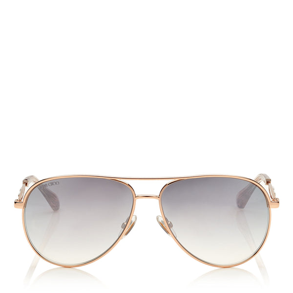 25a052baa4a JIMMY CHOO Jewly Gold Copper Aviator Sunglasses ITEM NO.