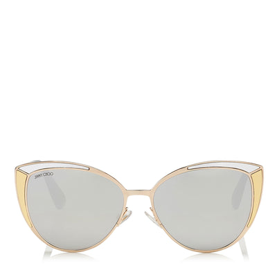 JIMMY CHOO Domi Metal Framed Cat Eye Sunglasses with Silver and Gold Leather Detail ITEM NO. DOMIS56EVNG