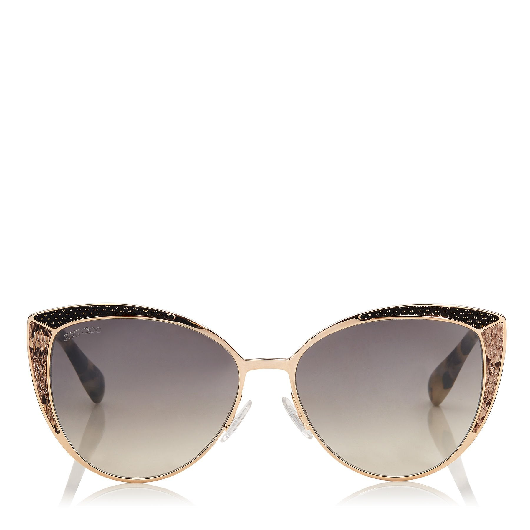 abe13c68dd6 DOMIS56EPSW  JIMMY CHOO Domi Metal Framed Cat Eye Sunglasses with Snakeskin  Leather Detail ITEM NO.