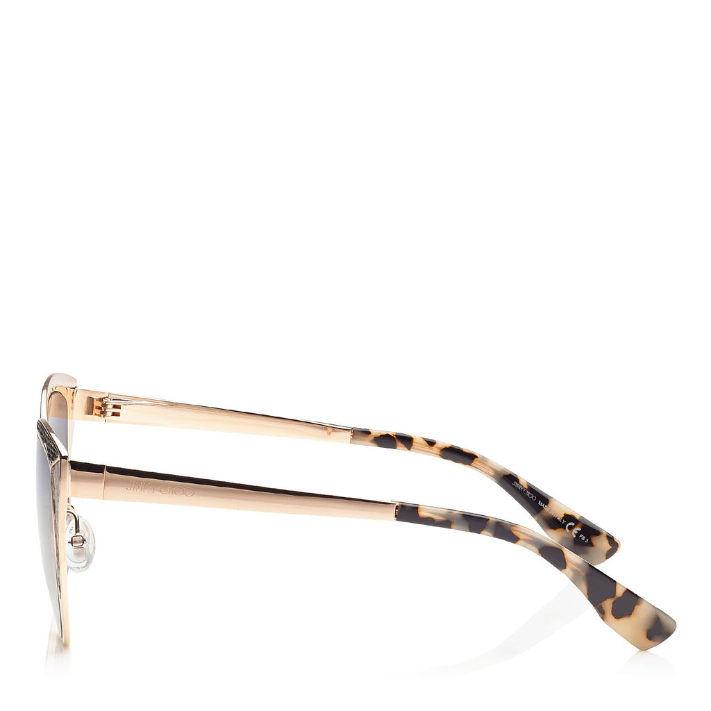 JIMMY CHOO Domi Metal Framed Cat Eye Sunglasses with Snakeskin Leather Detail ITEM NO. DOMIS56EPSW