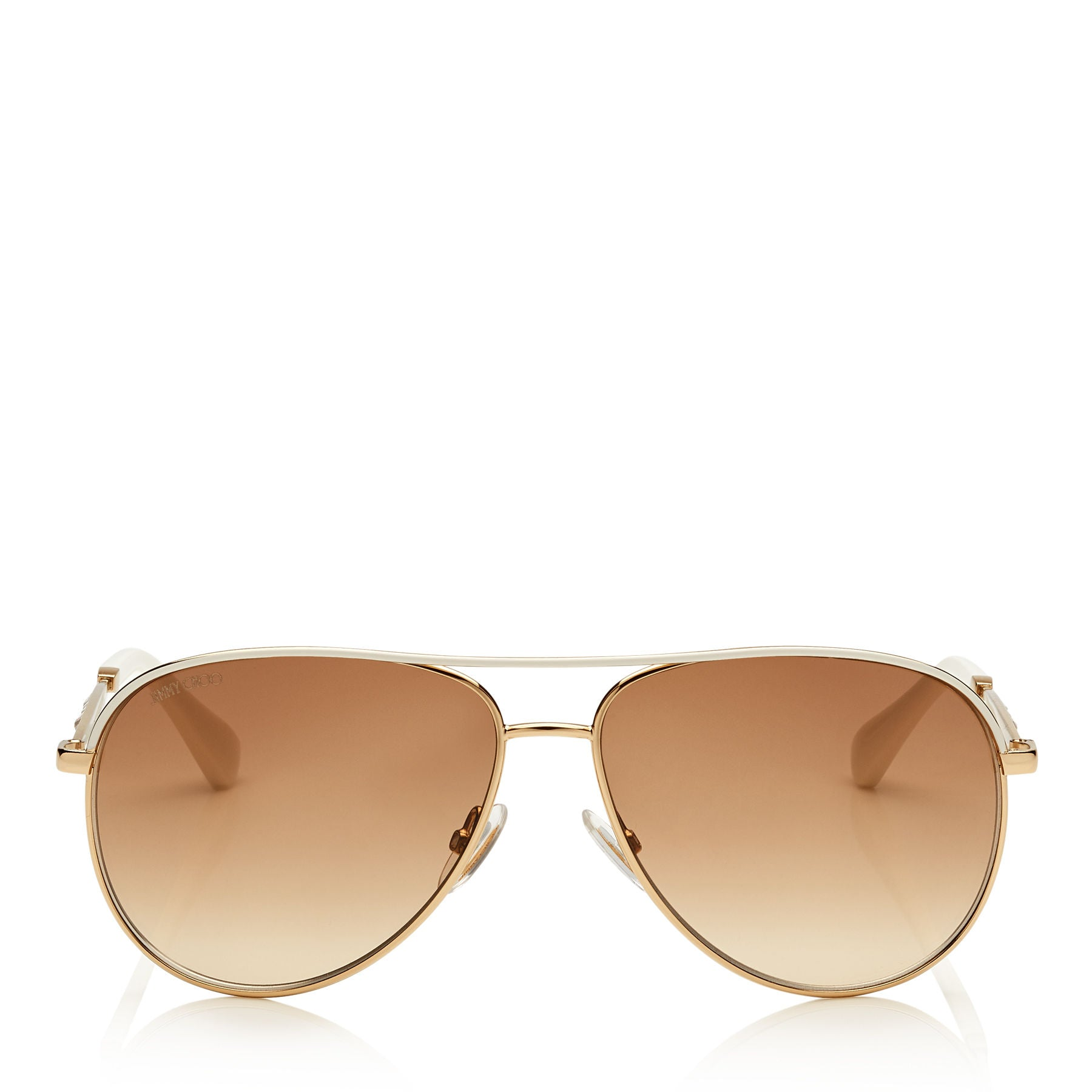 JIMMY CHOO Jewly Rose Gold and Ivory Aviator Sunglasses ITEM NO. JEWLYS58E150