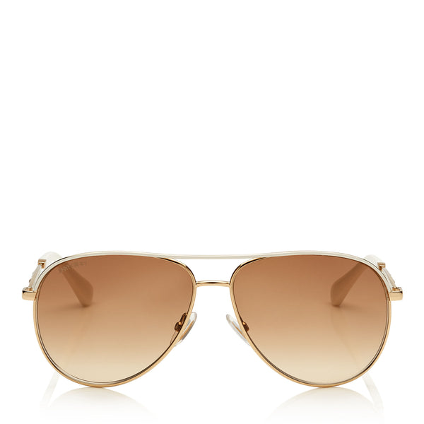 cec09dc2e91 JIMMY CHOO Jewly Rose Gold and Ivory Aviator Sunglasses ITEM NO.