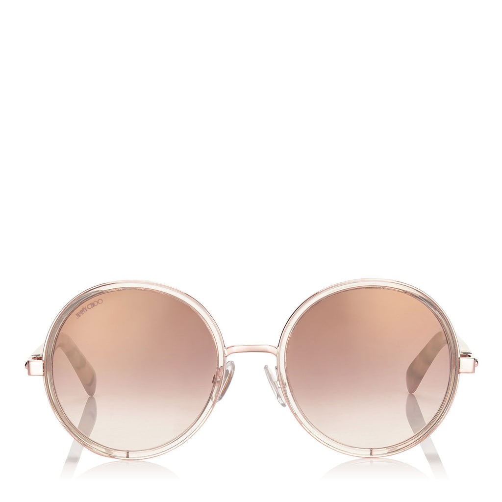 JIMMY CHOO Andie Shaded Mirror Gold Acetate Round Framed Sunglasses with Gold Silver Crystal Fabric Detailing and Havana Brown Arms ITEM NO. ANDIES54EJ7A