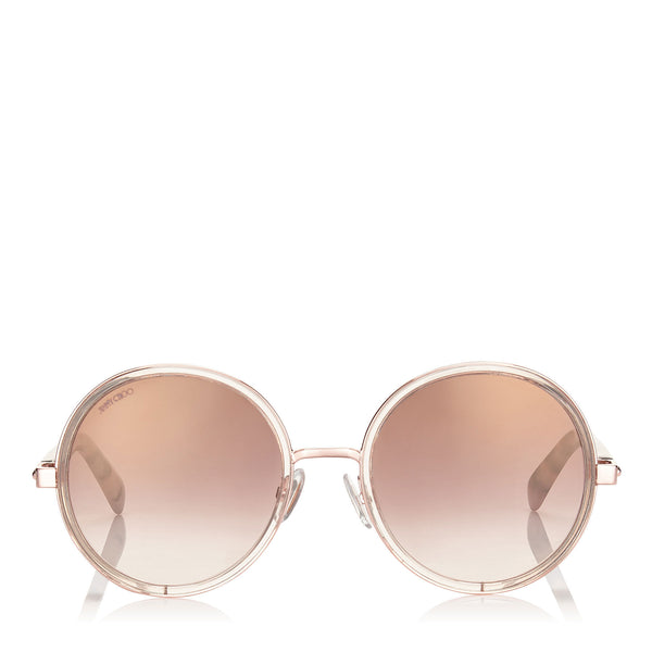 016e775431c JIMMY CHOO Andie Shaded Mirror Gold Acetate Round Framed Sunglasses with  Gold Silver Crystal Fabric Detailing ...