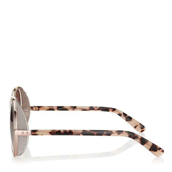 df0536f03e8 ... JIMMY CHOO Andie Shaded Mirror Gold Acetate Round Framed Sunglasses  with Gold Silver Crystal Fabric Detailing