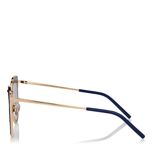 JIMMY CHOO Nile Rose Gold Metal Cat-Eye Sunglasses with Blue Leather Detailing ITEM NO. NILES63ELKS