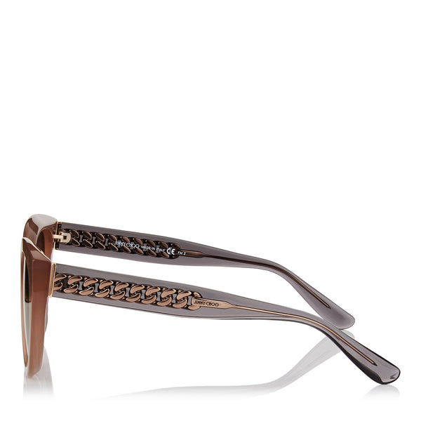 JIMMY CHOO Chana Opal Nude Cat-Eye Sunglasses with Copper Gold Chain Detailing ITEM NO. CHANAS52EFWM