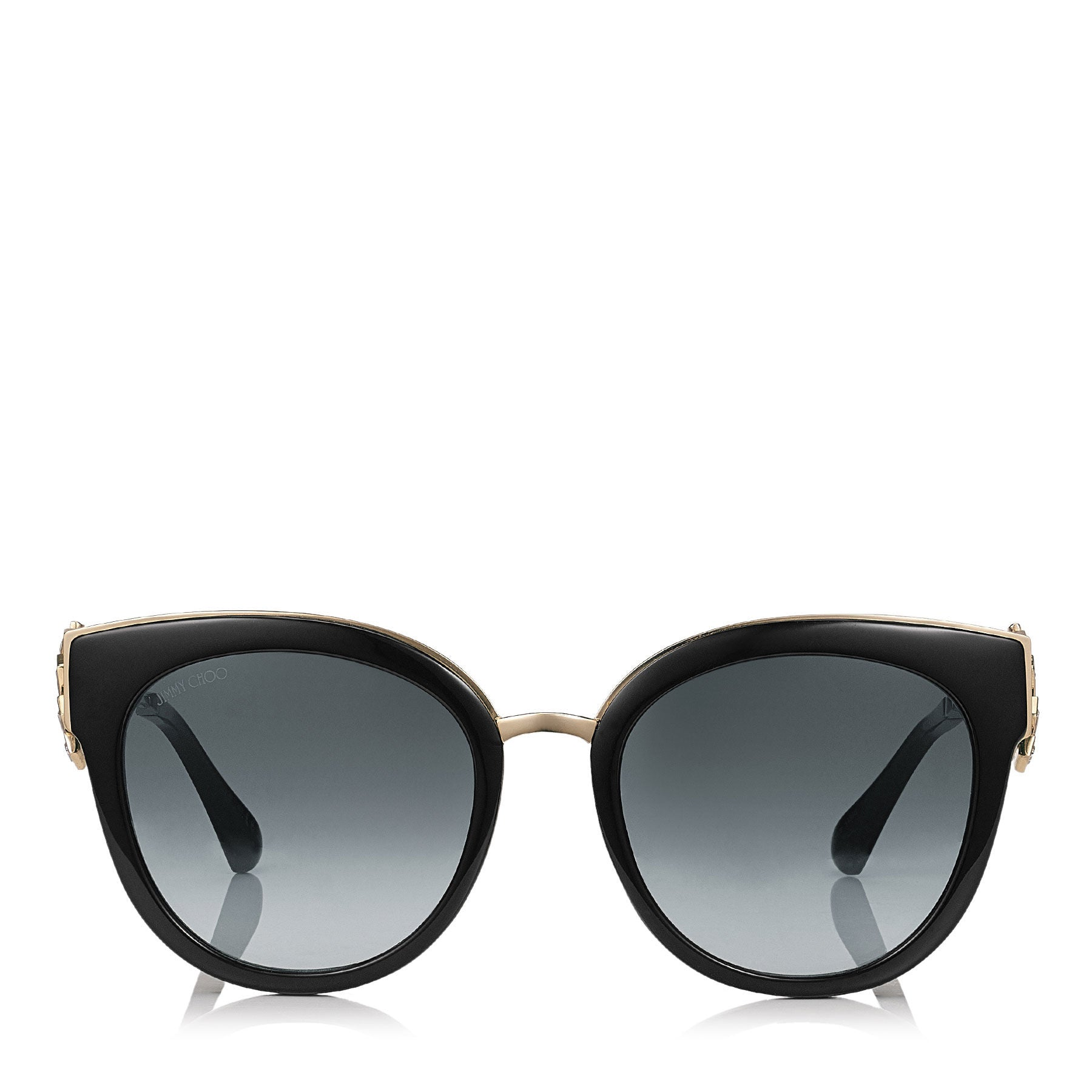 JIMMY CHOO Jade Black and Gold Oversized Sunglasses with Clip On Earrings ITEM NO. JADES53E1A5