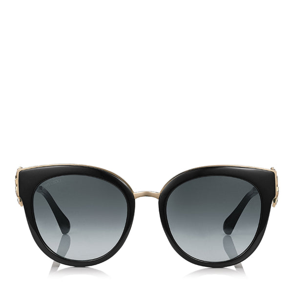 8a477d40085 JIMMY CHOO Jade Black and Gold Oversized Sunglasses with Clip On Earrings ITEM  NO.