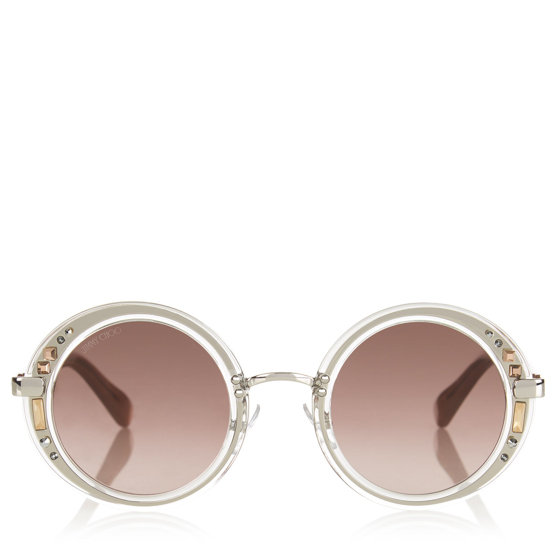 JIMMY CHOO Gem Transparent Round Framed Sunglasses with Swarovski Crystals ITEM NO. GEMS48E16R