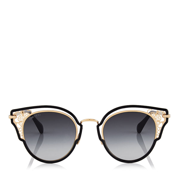 4aadad3d7fe JIMMY CHOO Dhelia Black and Rose Gold Metal Sunglasses ITEM NO.