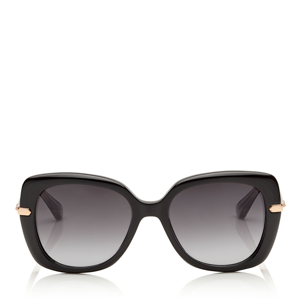 JIMMY CHOO Ludi Black and Gold Oversized Sunglasses ITEM NO. LUDIS53EN08