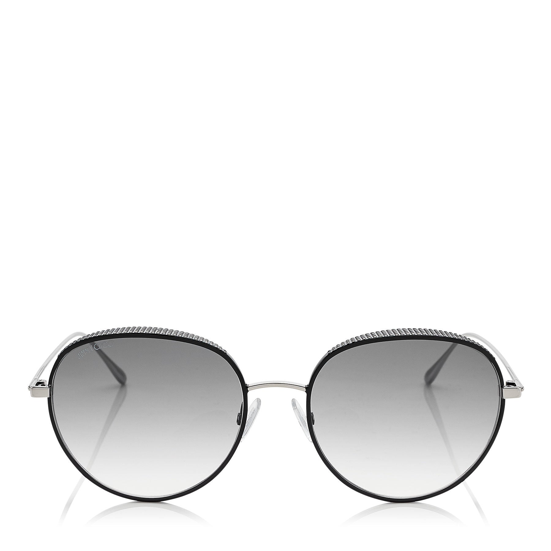 JIMMY CHOO Ello Black Palladium Sunglasses with Micro Stud Detailing ITEM NO. ELLOS56EJIN