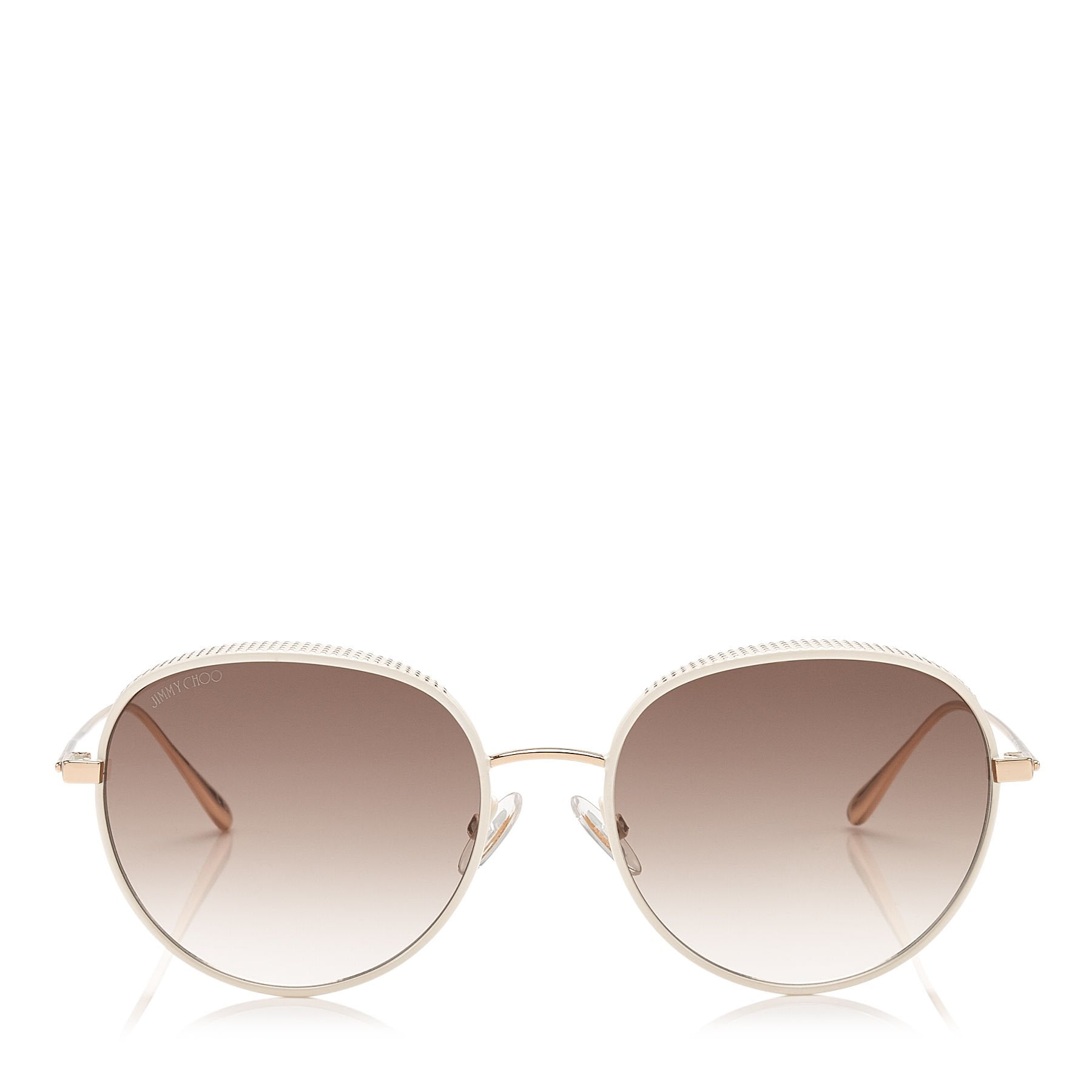 JIMMY CHOO Ello White and Gold Metal Framed Sunglasses with Micro ...