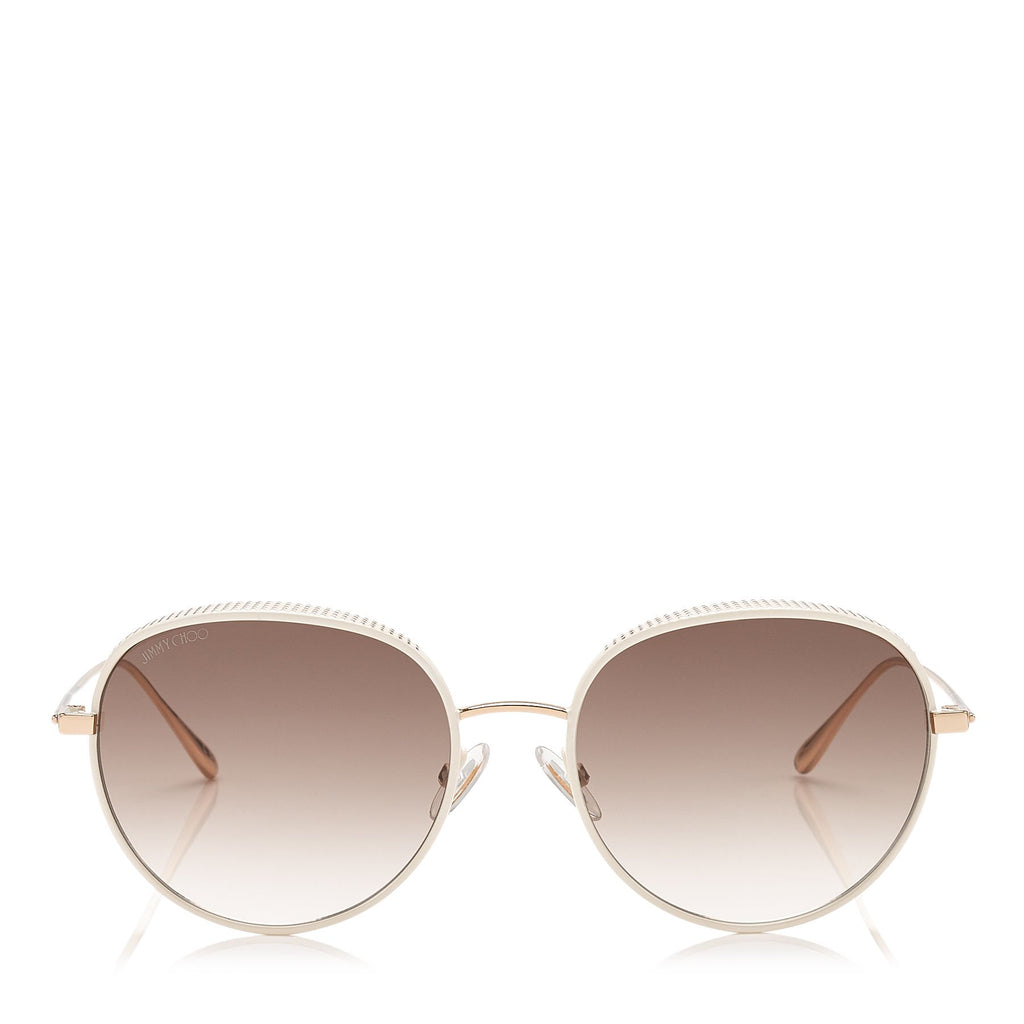 JIMMY CHOO Ello White and Gold Metal Framed Sunglasses with Micro Studs Detailing ITEM NO. ELLOS56EONR