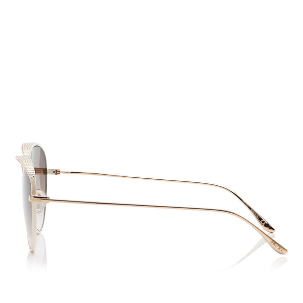 48b992c6ed5 JIMMY CHOO Ello White and Gold Metal Framed Sunglasses with Micro Studs  Detailing ITEM NO.