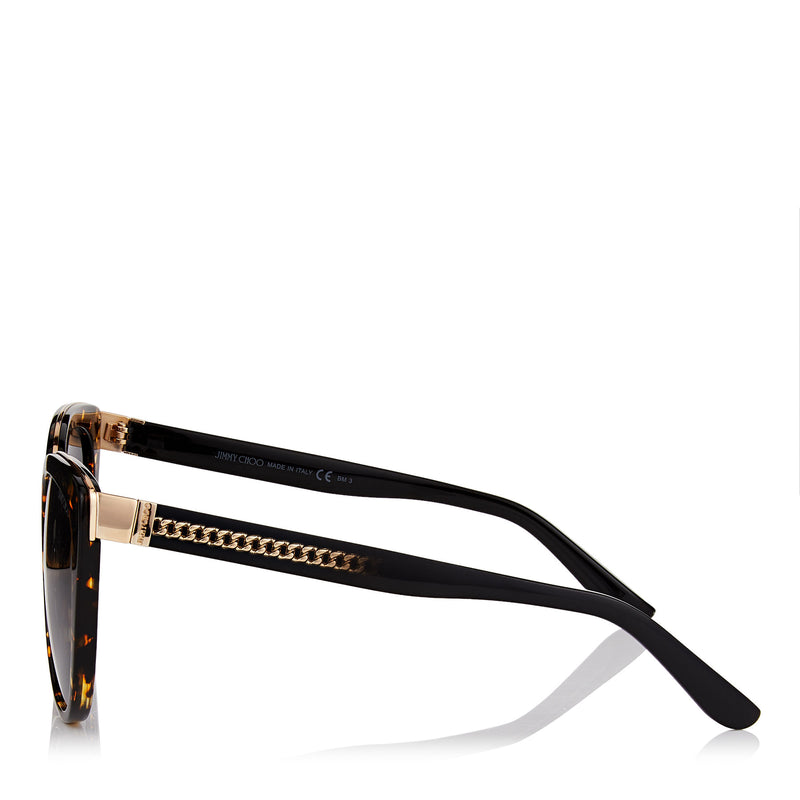 JIMMY CHOO Dana Havana Acetate Cat-Eye Sunglasses with Rose Gold Chain Metal Detailing ITEM NO. DANAS56E2KU