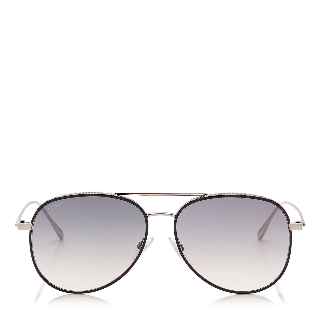 JIMMY CHOO Reto Black Palladium Aviator Sunglasses with Micro Studs Detailing ITEM NO. RETOS57EJIN