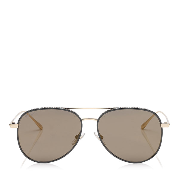 d4ef1040898 JIMMY CHOO Reto Black Gold Copper Aviator Sunglasses with Micro Studs  Detailing ITEM NO.