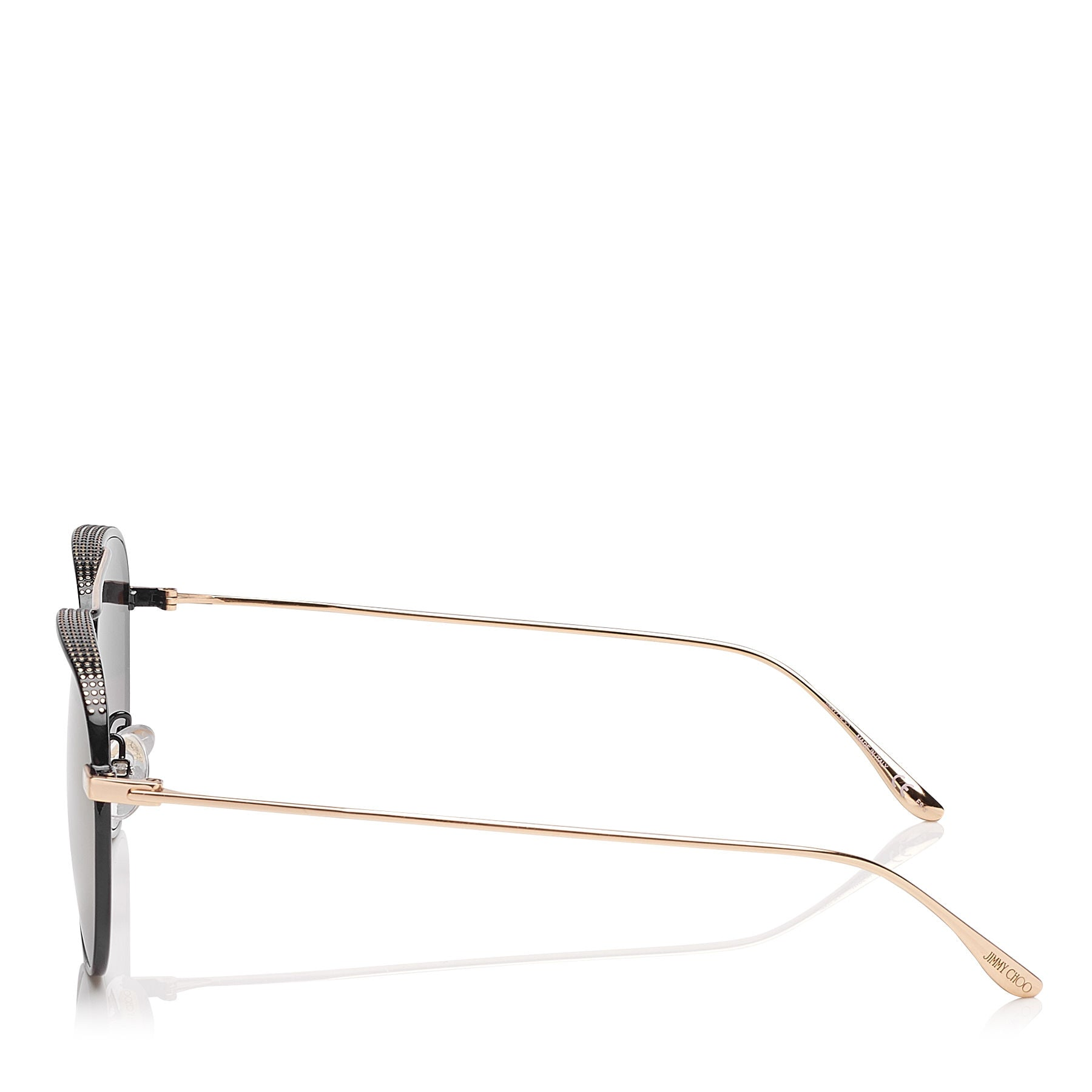 JIMMY CHOO Reto Black Gold Copper Aviator Sunglasses with Micro Studs Detailing ITEM NO. RETOS57EPL0