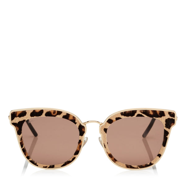 JIMMY CHOO Nile Rose Gold Metal Cat-Eye Sunglasses with Leopard Cavallino Leather Detailing ITEM NO. NILES63EXMG