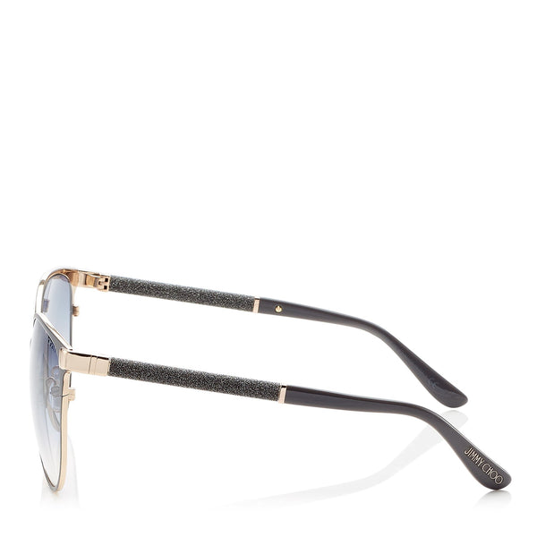 9a9a538b32b POSIES60EP4G JIMMY CHOO Posie Grey and Gold Framed Sunglasses with Glitter  Detail ITEM NO. POSIES60EP4G