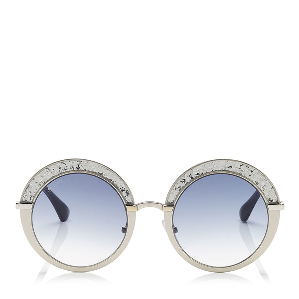 ad3842685b2 JIMMY CHOO Gotha Nude Palladium and Glitter Round Framed Sunglasses ITEM NO.