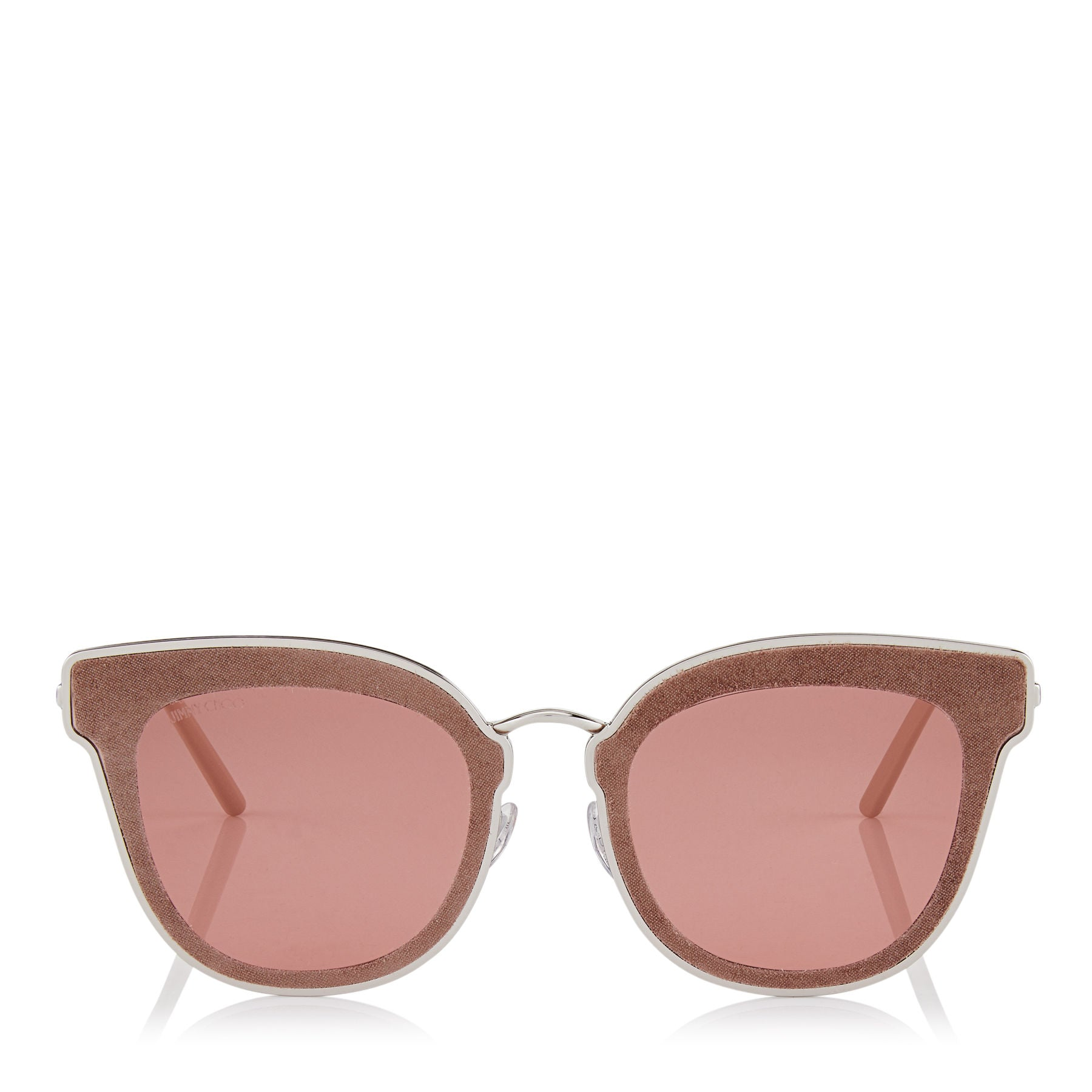 JIMMY CHOO Nile Palladium Metal Cat-Eye Sunglasses with Nude Leather Detailing ITEM NO. NILES63ES0J